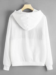 Letter Kangaroo Pocket Hooded Sweatshirt