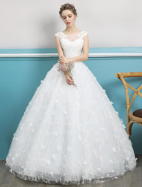 Milanoo Princess Ball Gown Wedding Dress Ivory Lace Beading Illusion Backless Floor Length Bridal Dress