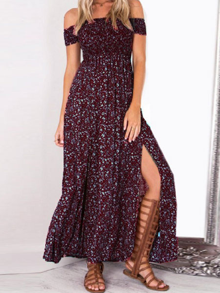 Milanoo Boho Maxi Dress 2020 Off The Shoulder Split Red Floral Printed Long Warp Dress For Women