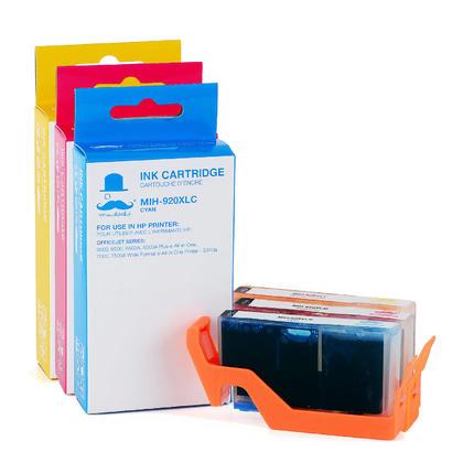 Compatible HP OfficeJet 6500A Plus Color Ink Cartridges C/M/Y High Yield - Moustache