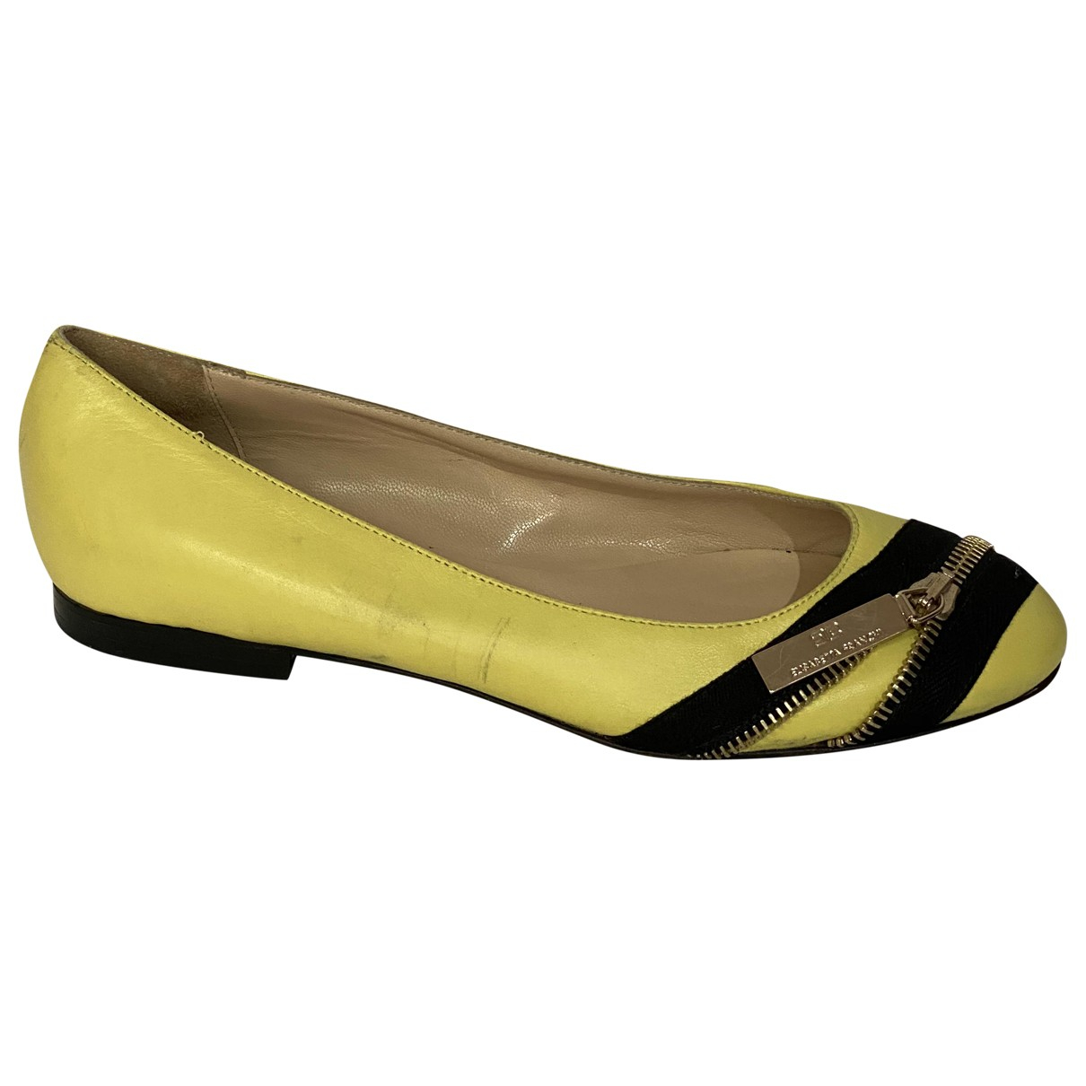 Elisabetta Franchi \N Yellow Leather Ballet flats for Women 36 EU