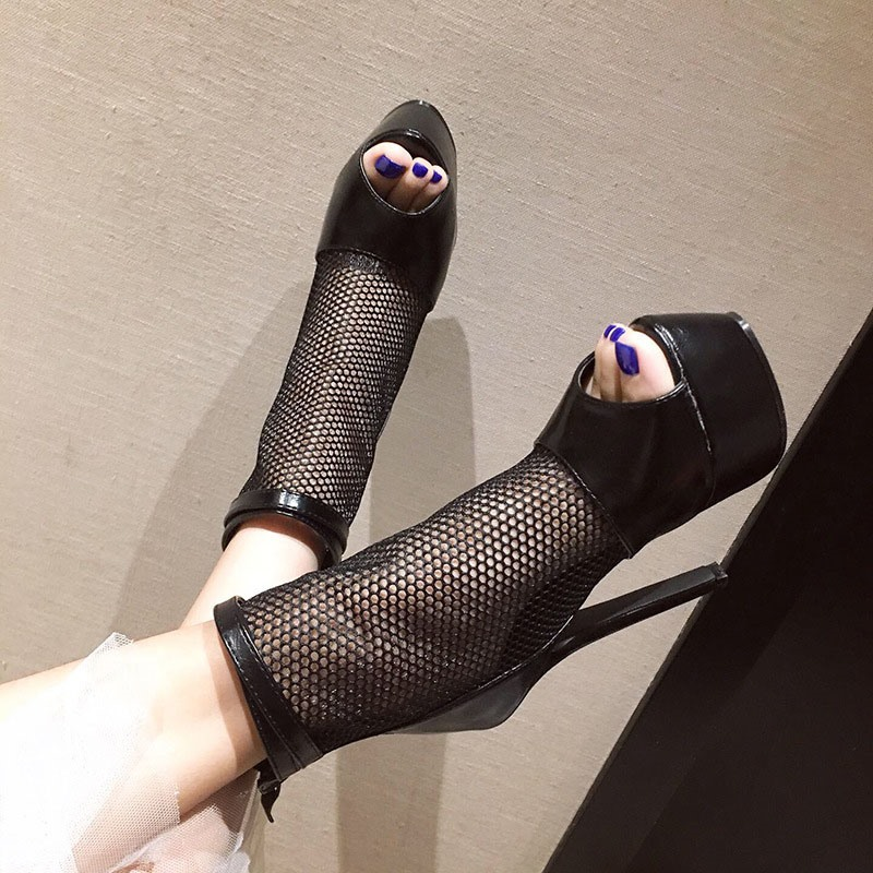 Ericdress Peep Toe Stiletto Heel Patchwork Casual Boots