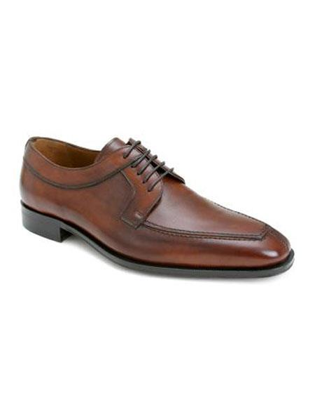 Mens Tan Italian Calfskin Lace Up Split Toe Leather Shoes Mezlan Brand