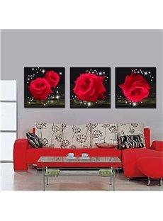 Splendid and Delicay Shiny Red Roses 16*16 in 3 Panel Framed Art Prints