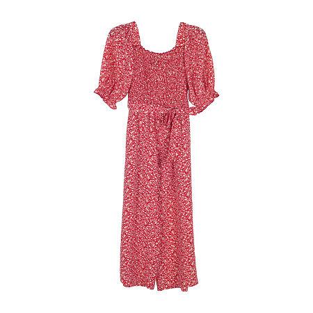 Lilt Big Girls Short Sleeve Jumpsuit, 8 , Red