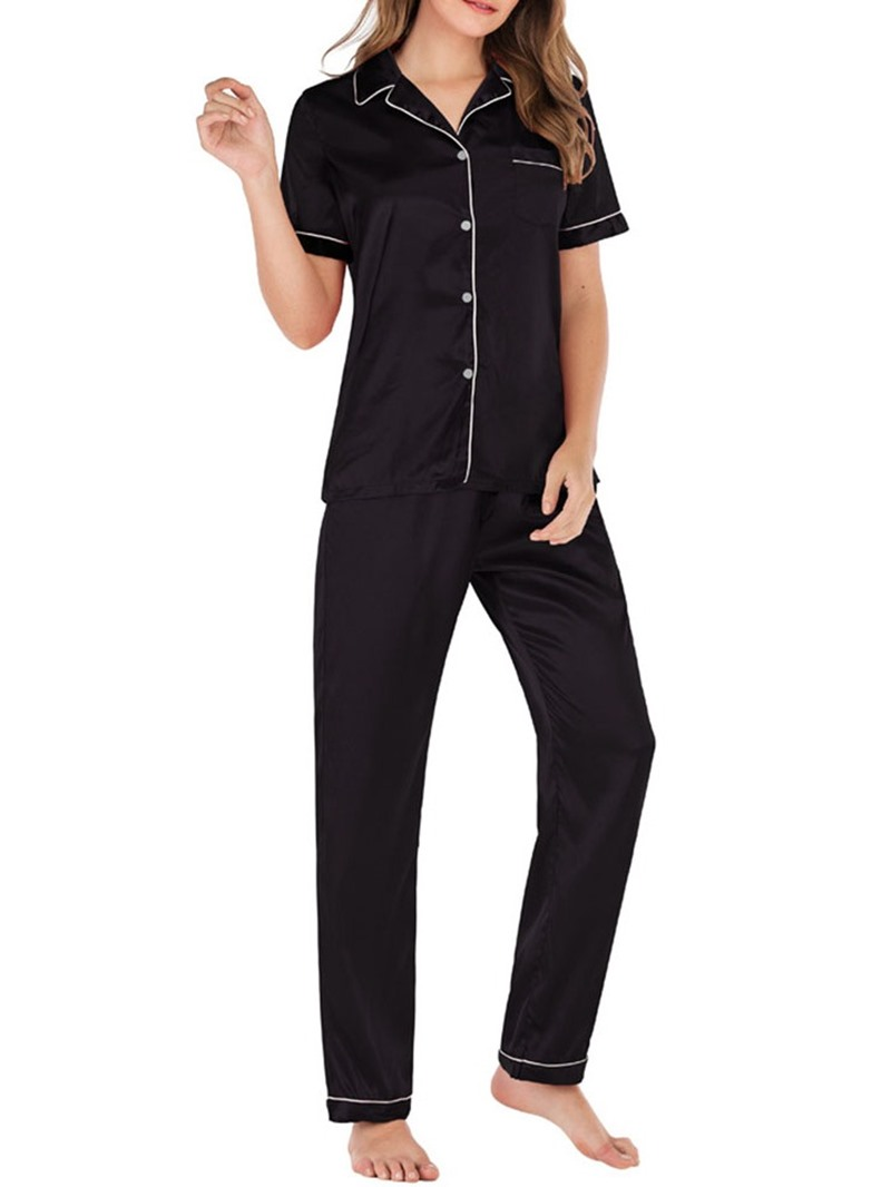 Ericdress Polyester Simple Button Sleep Top Short Sleeve Pajama Suit