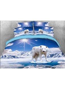 Vivilinen 3D White Wolf Printed Cotton 4-Piece Bedding Sets/Duvet Covers