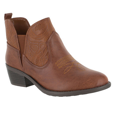 Easy Street Womens Legend Booties Block Heel Narrow Width, 8 1/2 Medium, Brown