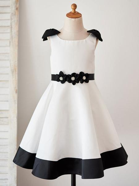 Milanoo Flower Girl Dresses Jewel Neck Sleeveless Sash Kids Party Dresses