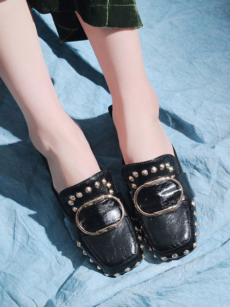 Milanoo Women\'s Mules Clogs PU Leather Black Square Toe Low Heel Slip-On Mules