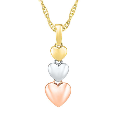 Womens 10K Tri-Color Gold Heart Pendant Necklace, One Size , No Color Family