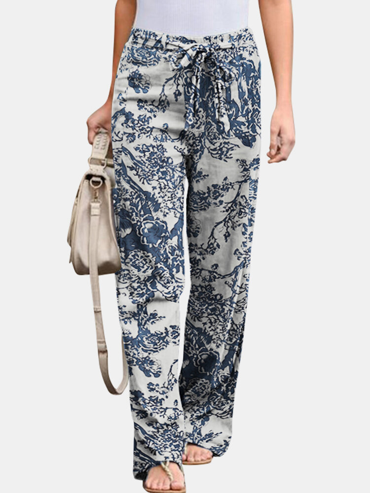 Vintage Printed Elastic Waist Straight-Legged Pants For Women