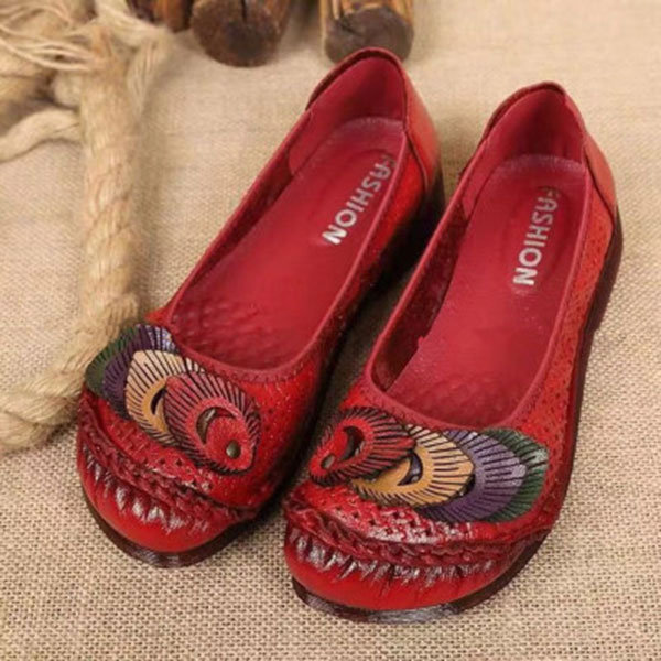 Genuine Leather Handmade Stitching Slip On Casual Soft Comfortable Women Flat Shoes