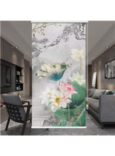 Elegant Blossoming Lotus in the Mountains Printing Roller Shades
