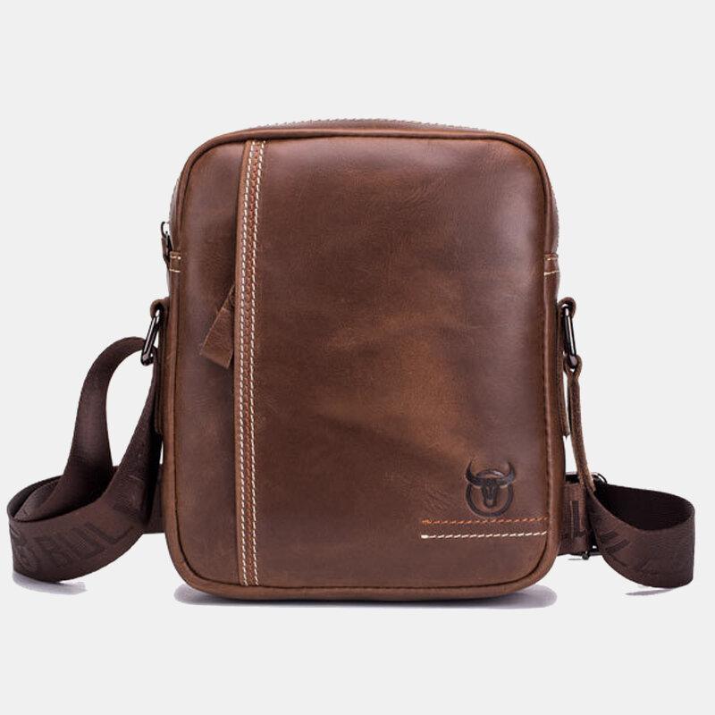 Men Genuine Leather Multi-pocket Anti-theft Crossbody Bag Shoulder Bag
