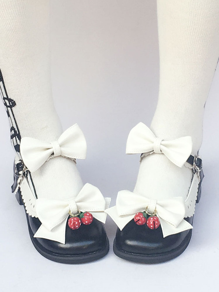 Milanoo Sweet Lolita Shoes Round Toe Bow Ankle Strap Lolita Pumps