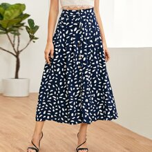 Allover Print Button Front Pleated Skirt