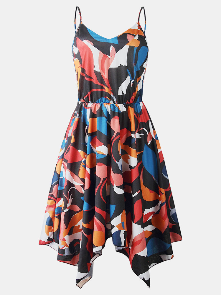 Vintage Printed V-neck Sleeveless Backless Pleated Asymmetrical Sexy Midi Dress