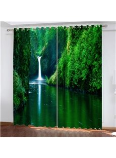 High Quality 2-Pieces Heat-Proof Blackout 3D Scenery Curtains with Gorgeous Green Landscape Scenery