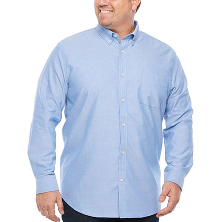 The Foundry Big & Tall Supply Co. Big and Tall Mens Long Sleeve Button-Down Shirt, X-large Tall , Blue