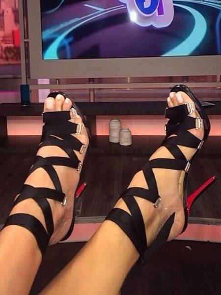 Milanoo Women Gladiator Sandals Black Open Toe Lace Up Sandal Shoes High Heel Sandals