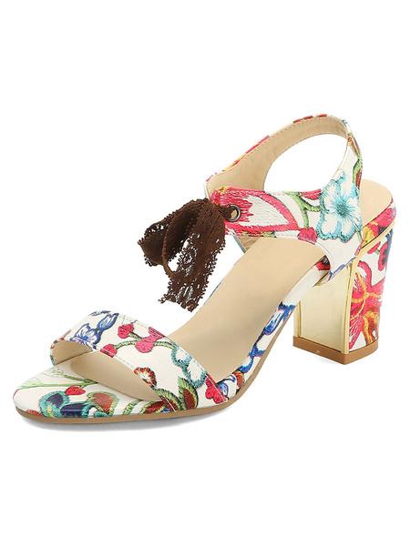 Milanoo Mid Heel Sandals Womens Flower Print Open Toe Slingback Block Heel Sandals
