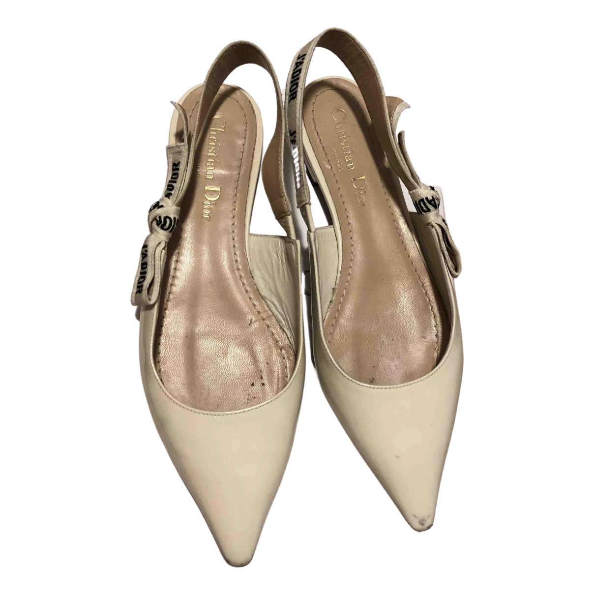 Dior J'adior White Patent leather Ballet flats for Women 36.5 IT