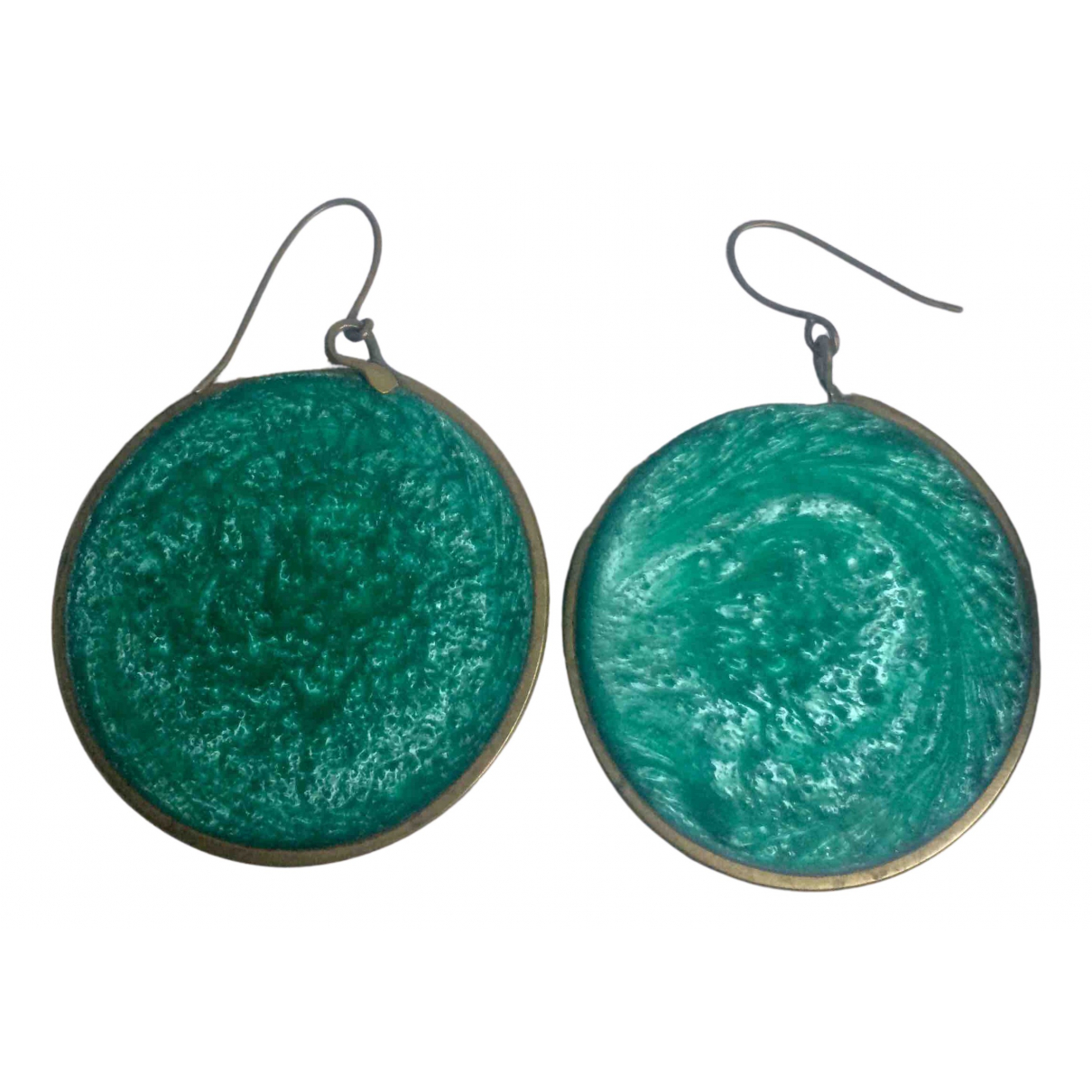 Non Signé / Unsigned Médailles Turquoise Metal Earrings for Women N