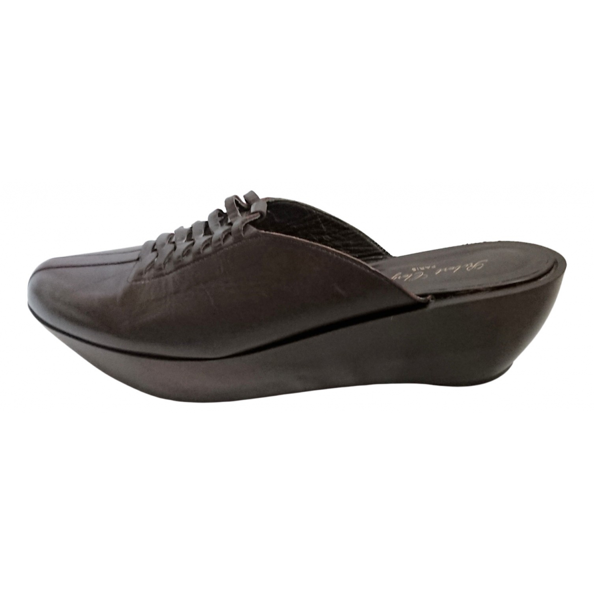 Robert Clergerie \N Brown Leather Mules & Clogs for Women 8 US