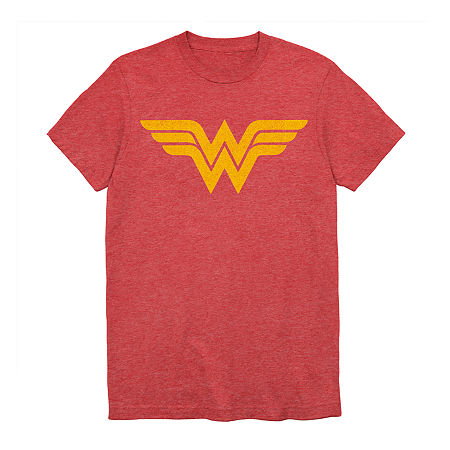 Mens Crew Neck Short Sleeve Wonder Woman Graphic T-Shirt, Large , Red