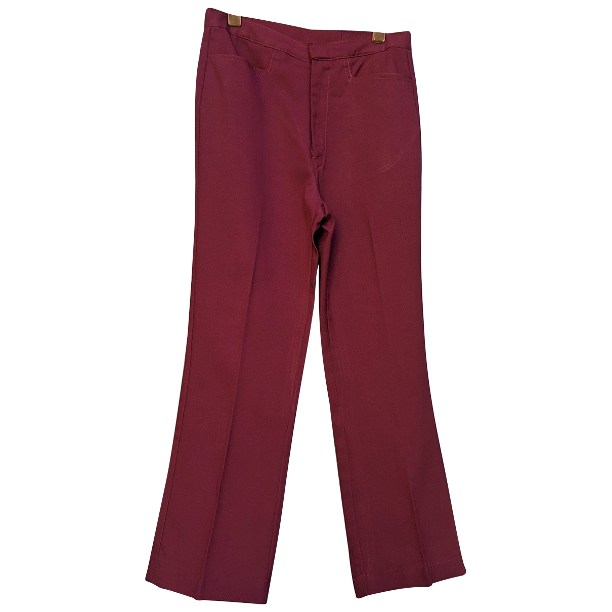 Non Signé / Unsigned \N Burgundy Cotton Trousers for Women M International