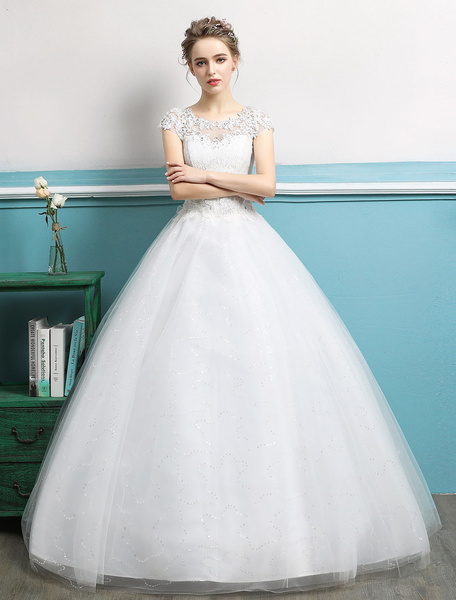 Milanoo Princess Wedding Dresses Ball Gowns Lace Beaded Ivory Tulle Floor Length Bridal Dress