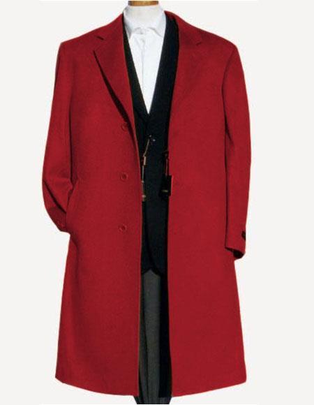 Men's Wine Soft Finest Grade Of Cashmere Wool Overcoat ~ Topcoat