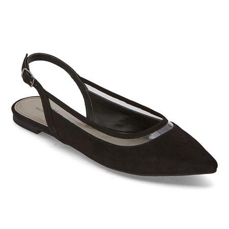Worthington Womens Gibby Pointed Toe Ballet Flats, 6 Medium, Black