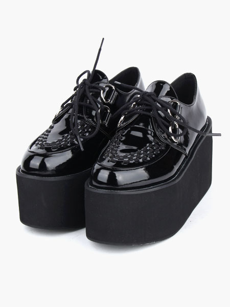 Milanoo Lovely Black Round Toe PU Leather Street Wear Platform Lolita Shoes