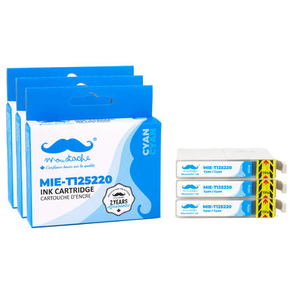 Compatible Epson T125220 cartouche d'encre cyan - Moustache@ - 3/Paquet