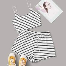 Plus Striped Crop Cami Top & Shorts Set