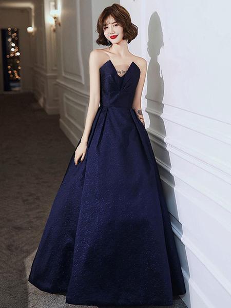 Milanoo Evening Dress A-Line Strapless Satin Fabric Floor-Length Pleated Social Party Dresses