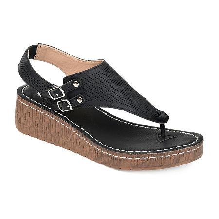 Journee Collection Womens Mckell Pumps Wedge Heel, 6 Medium, Black