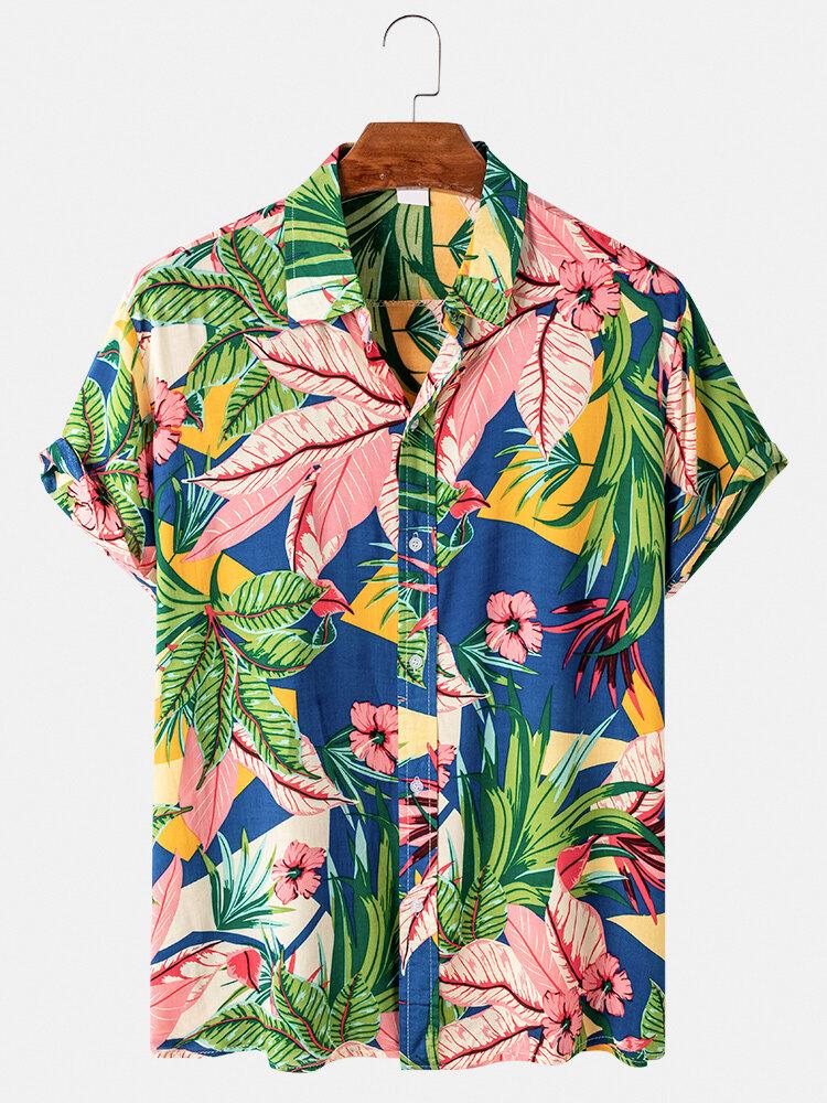 Mens Plant Printed Color Block Cotton Casual Short Sleeve Shirts