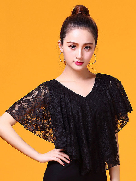 Milanoo Ballroom Dance Costume Lace Poncho Top Black Women V Neck Training Dancing Clothing