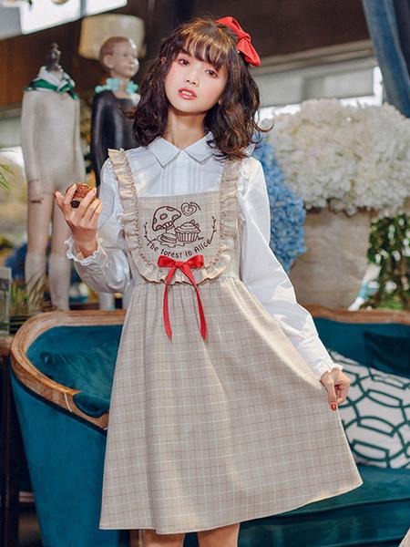 Milanoo Classic Lolita JSK Dress Embroidered Ruffle Bow Plaid Tan Lolita Jumper Skirt