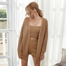 3pcs Ribbed Knit Drop Shoulder Sweater Set