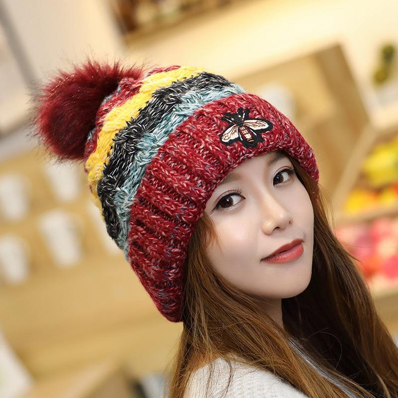 Ericdress Woolen Yarn Patchwork Winter Color Block Hats