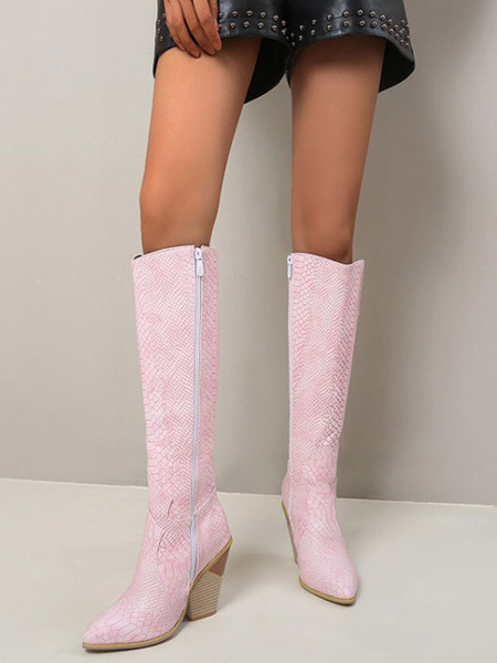 Milanoo Knee-High Boots PU Leather Pink Pointed Toe Chunky Heel Women Knee Length Boots