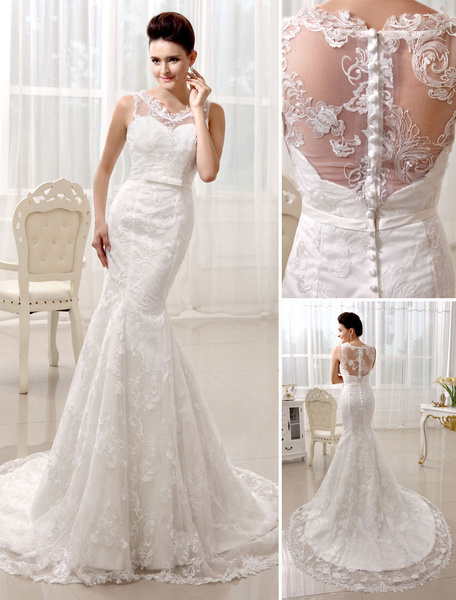 Milanoo Court Train Ivory Wedding Dress For Bride with V-Neck Mermaid Buttons