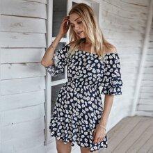 Floral Print Flounce Sleeve Ruffle Hem Bardot Dress