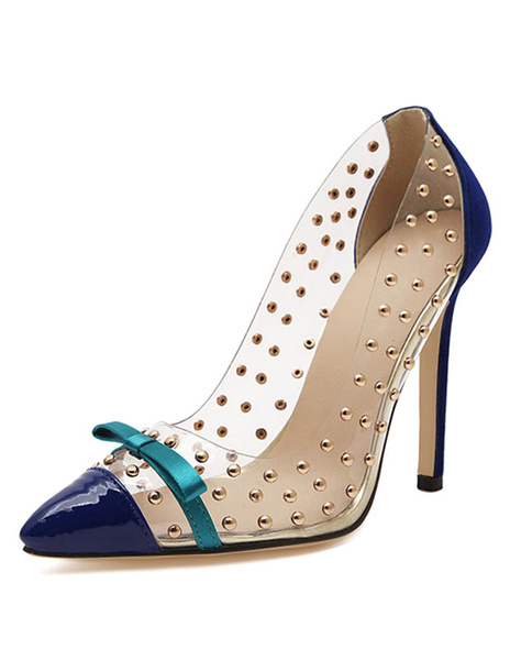 Milanoo Blue High Heels Women Shoes Pointed Toe Bow Beaded Slip On Pumps