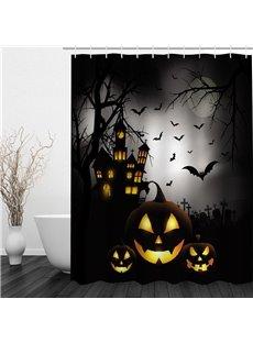 3D Halloween Night Jack-O-Lanterns Printed Polyester Waterproof Antibacterial Eco-friendly Shower Curtain