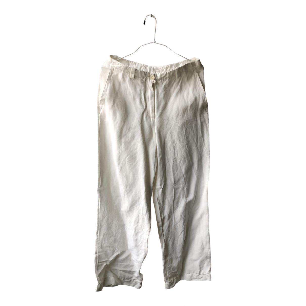 Marc Cain \N White Linen Trousers for Women 38 FR